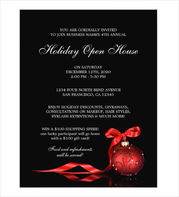 business and store holiday open house flyer