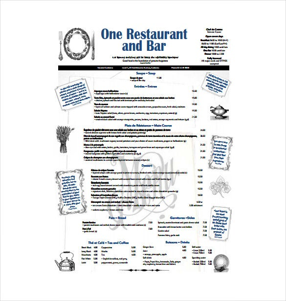 french menu free pdf download