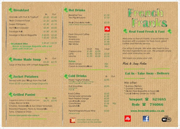 11  french menu template