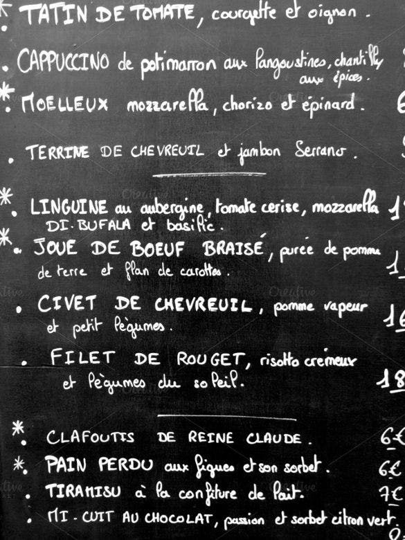 french menu in paris template download