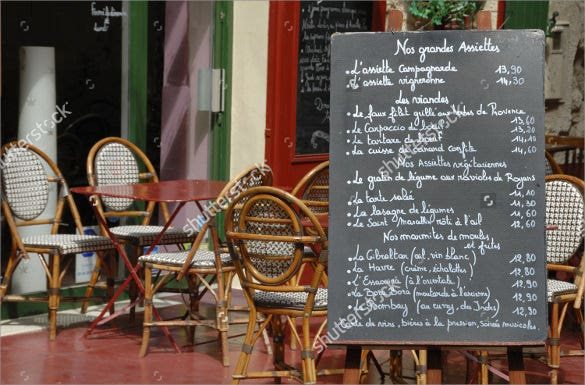 menu board outside a french restaurant template download