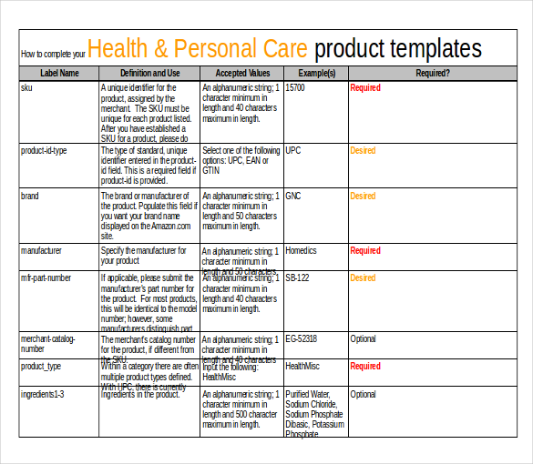 health and personal care product inventory template sample format