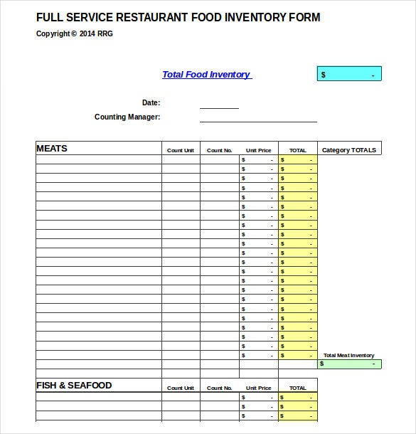 Food Inventory Template  CityEsporaCo