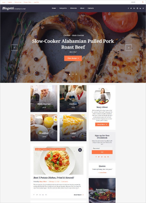 food  recipe blog website templates  u0026 themes