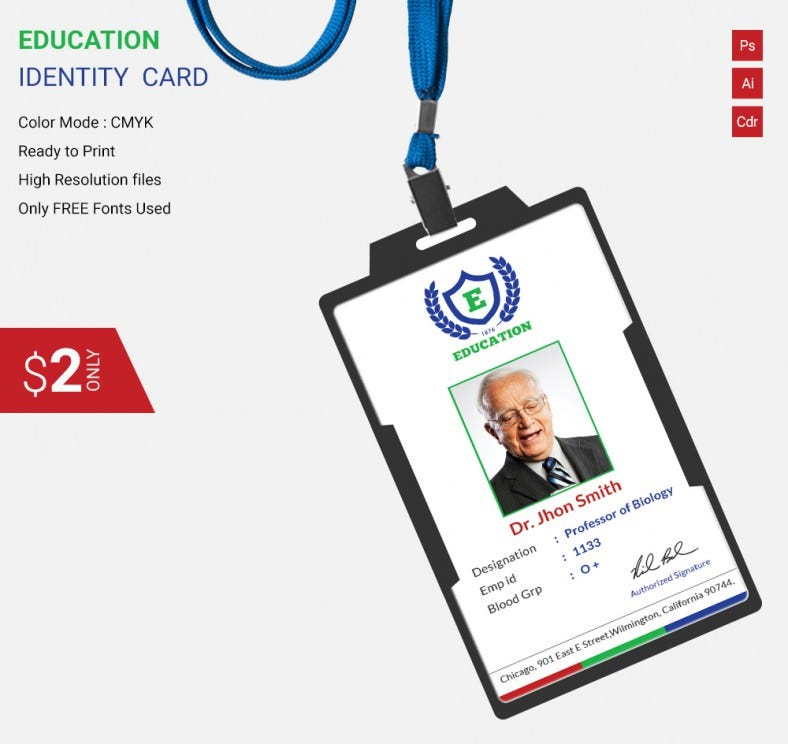 Flat education identity card template free premium for Teacher id card template
