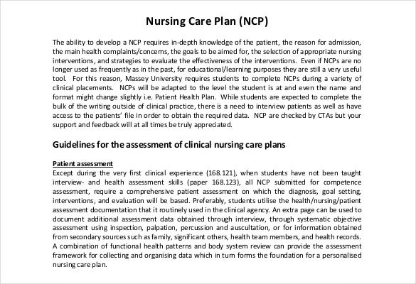 Nursing Care Plan Templates   Free Word Excel Pdf Documents