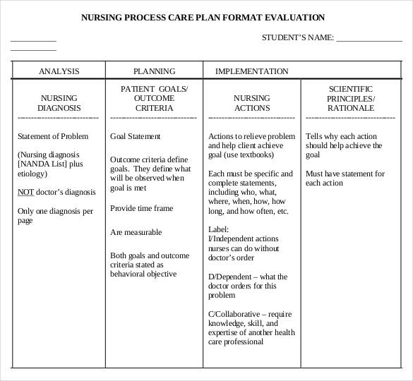 nursing care plan evaluation free pdf template