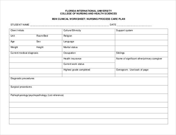 bsn clinical nursing care plan pdf free template