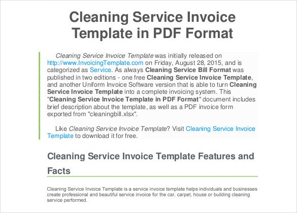 Cleaning Service Invoice Doc Format Free Template  Free Downloadable Invoice Templates