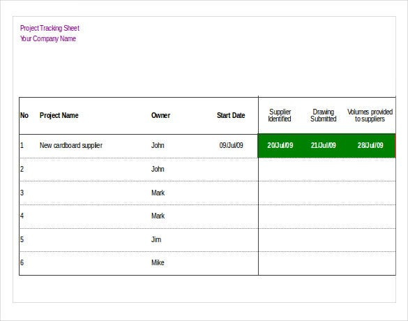 project tracking inventory sheet download