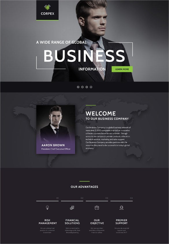 business responsive landing page parallax template