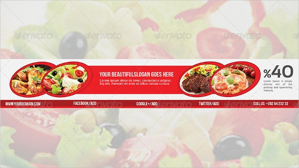 restaurant youtube banner ad template