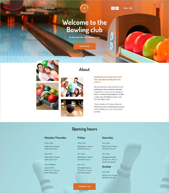 bowling club parallax html5 website template