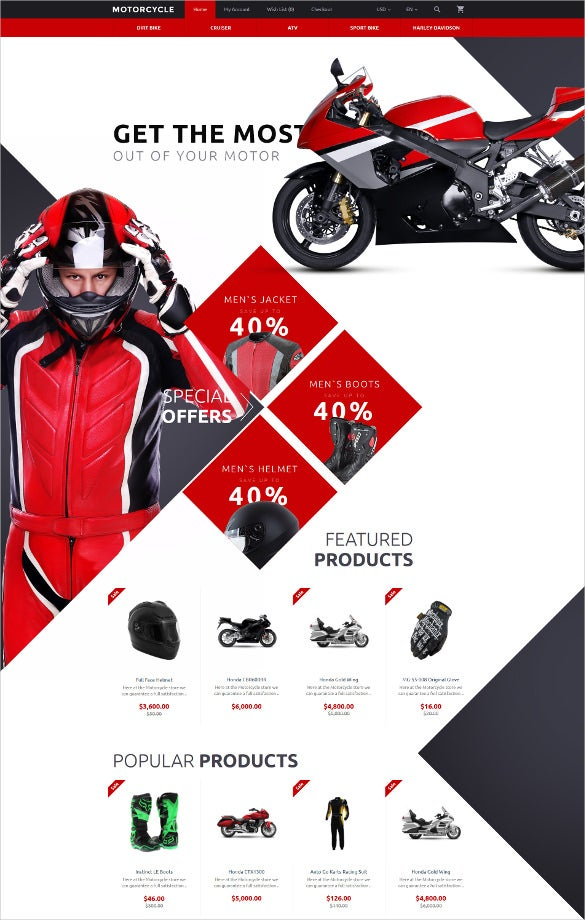motorcycle opencart parallax html5 template