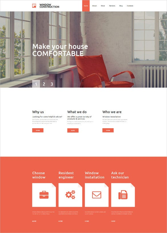 furniture responsive moto cms 3 parallax html5 template