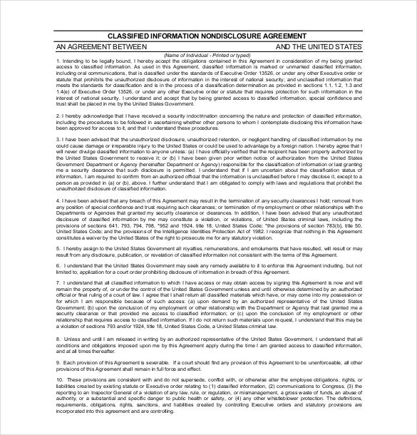 free non discloser agreement form pdf format