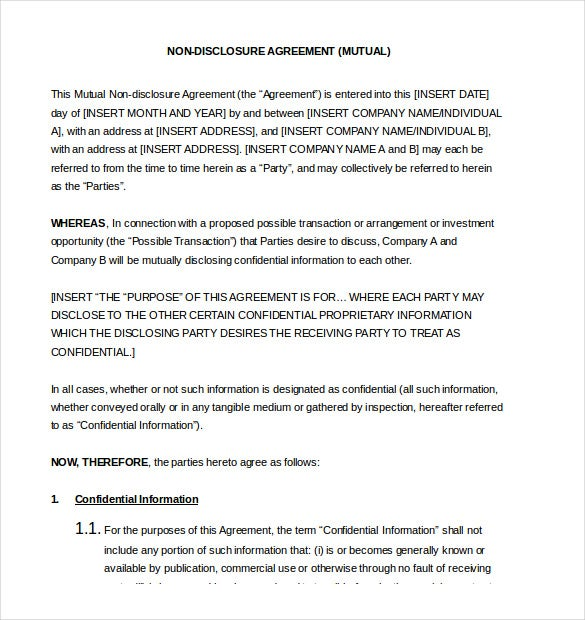 non disclosure agreement word document