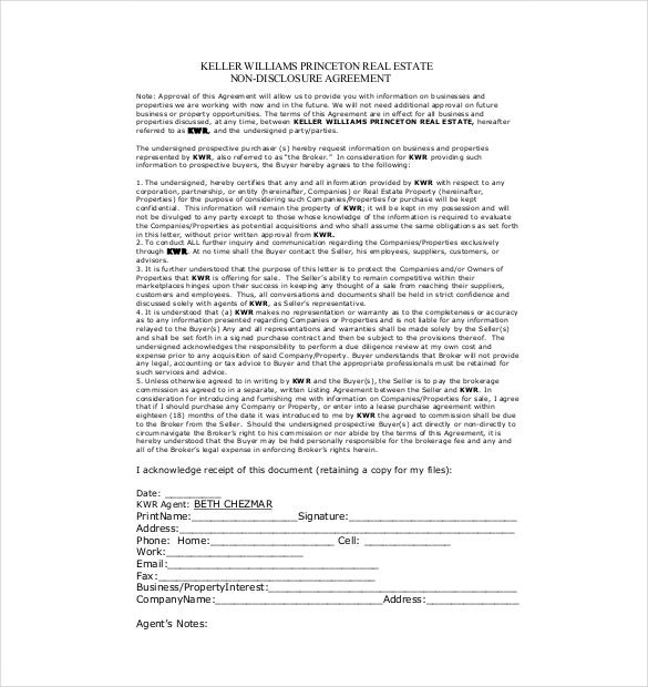 NonDisclosure Agreement Templates  Free Sample Example