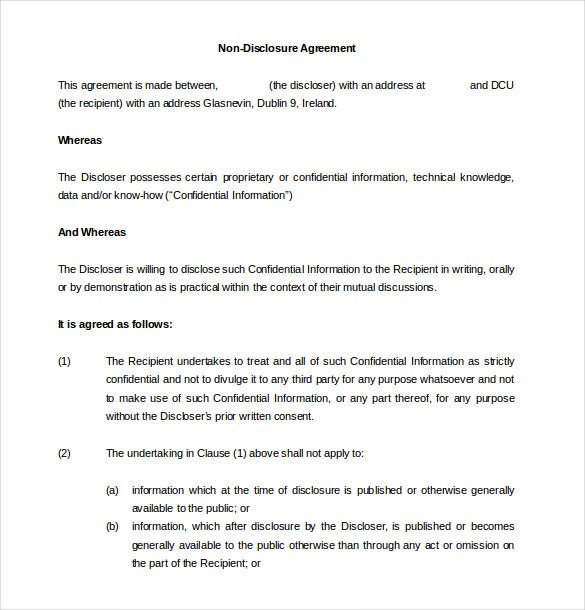 10 NonDisclosure Agreement Templates Free Sample Example – Non Disclosure Agreement Word Document