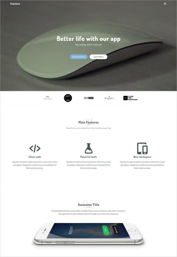 static parallax html5 template