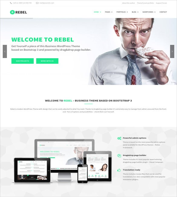 51 business bootstrap themes templates free premium templates rebel wordpress business bootstrap theme flashek Images