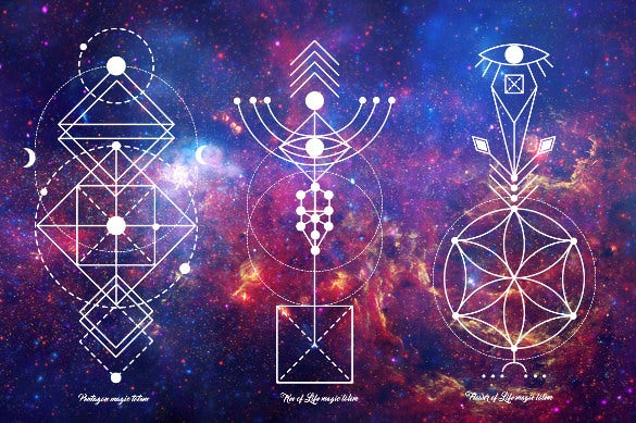 sacred geometry magic totem pattern
