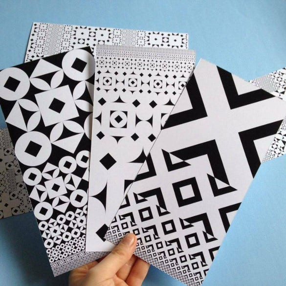 black white geometric patterned cards for free