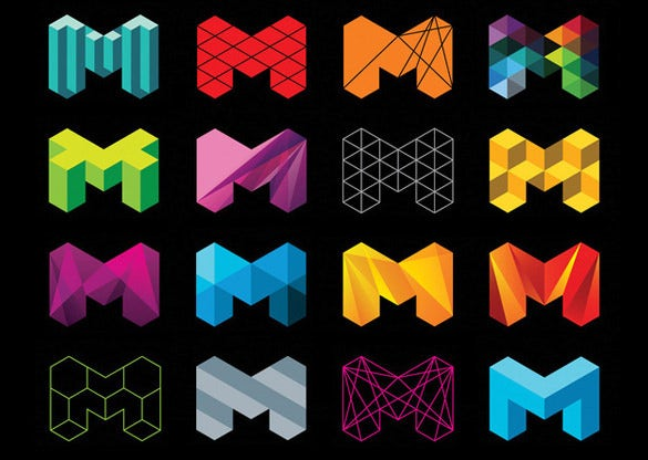 m alphabet geometric pattern