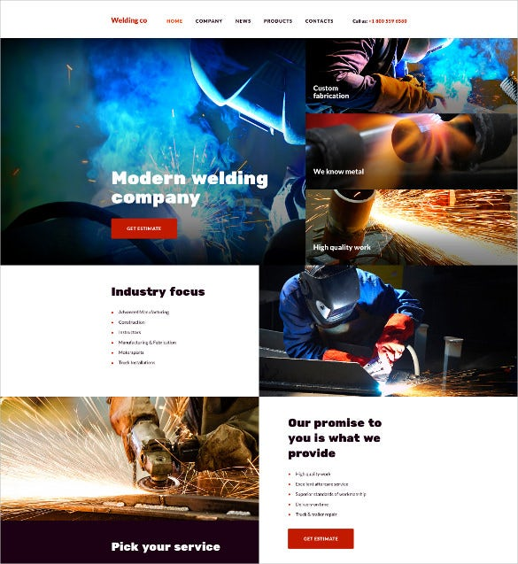 welding co html5 website template