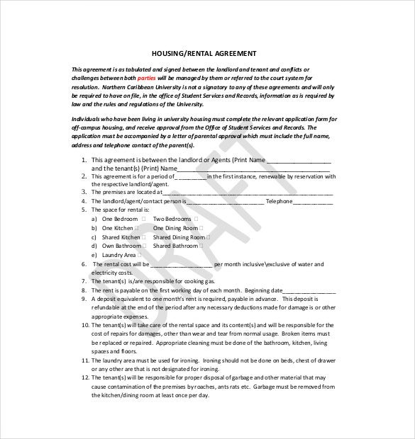 10 lease agreement templates free sample example for Housing lease template