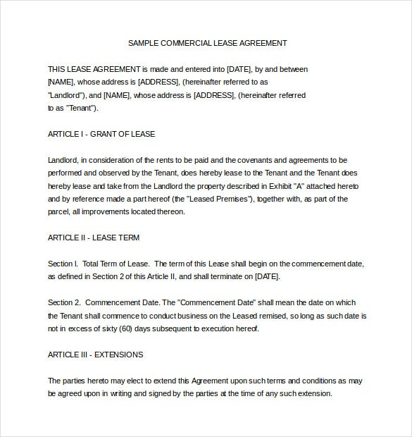 Free Sample Commercial Lease Agreement  Format Of Lease Agreement