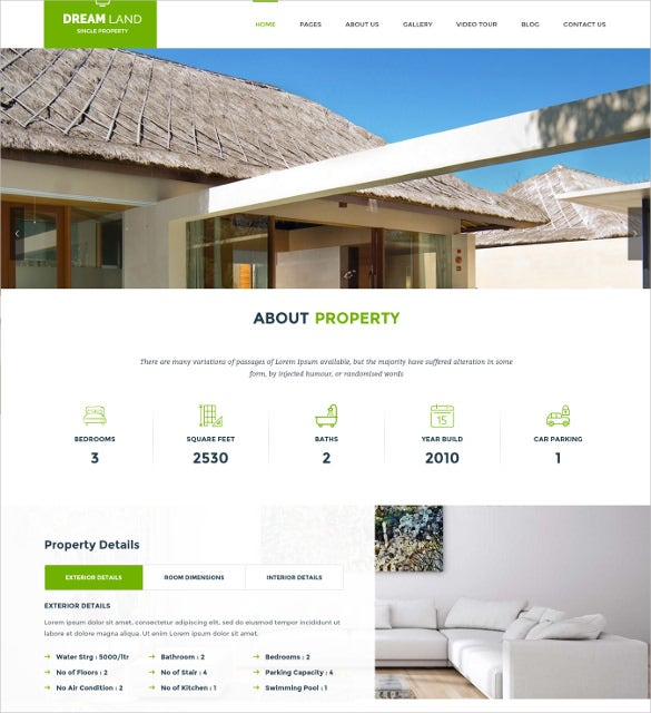 dream land single property real estate html5 wordpress theme