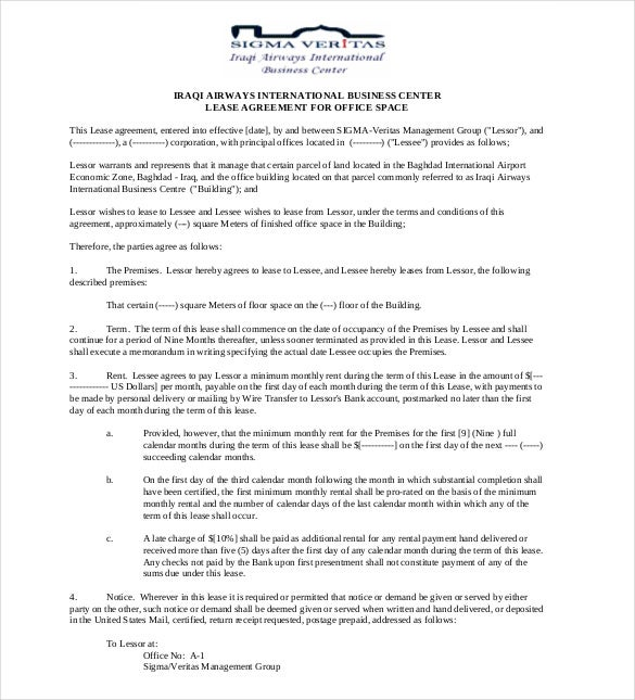 10 Lease Agreement Templates Free Sample Example Format – Sample Office Lease Agreement