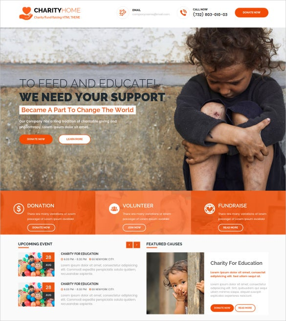 charity home responsive html5 template
