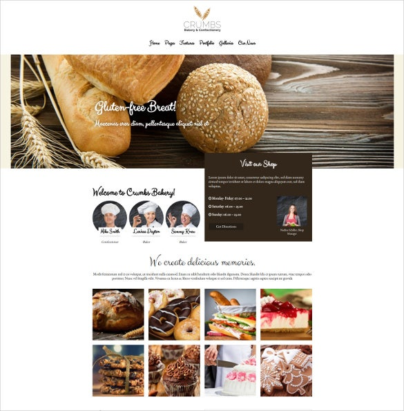 crumbs bakery html5 wordpress theme