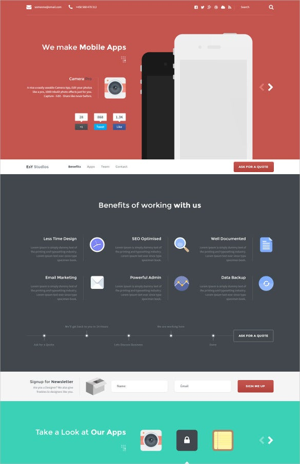 27 App Developers Website Themes Amp Templates Free