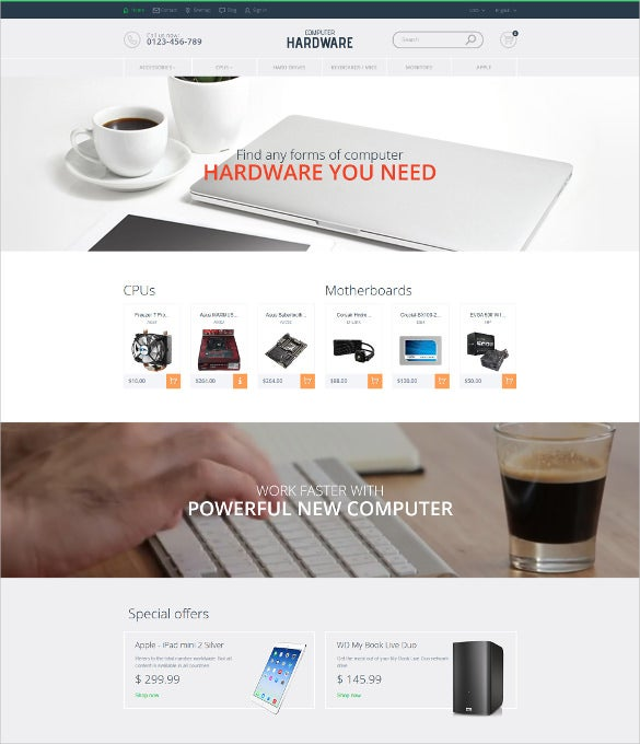 computer hardware ecommerce prestashop theme