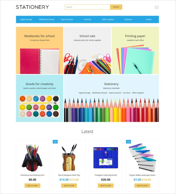 stationery ecommerce opencart template