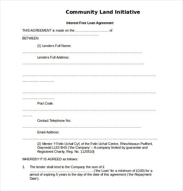 14 loan agreement templates free sample example for Free contract templates