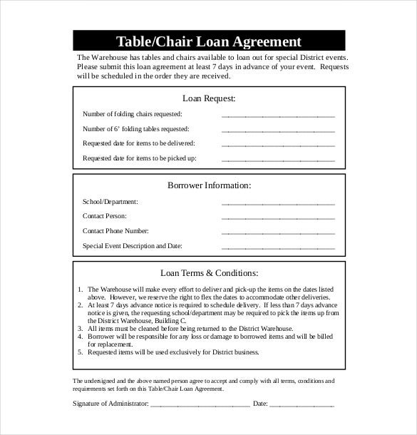 Free Table Loan Agreement  Free Loan Agreement