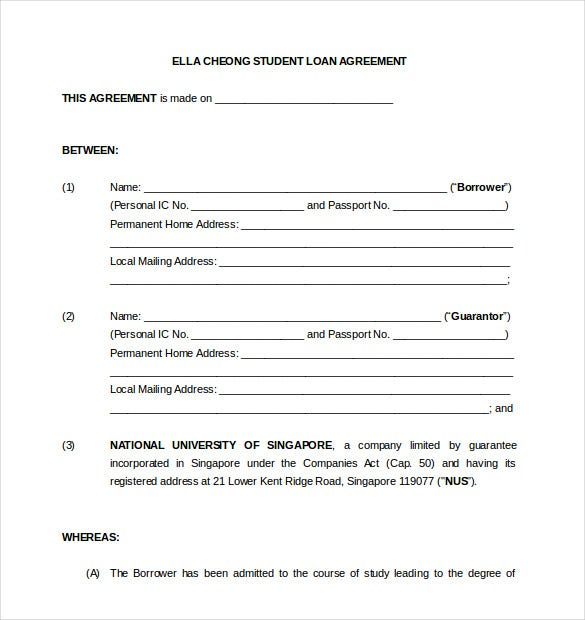 10 Loan Agreement Templates Free Sample Example Format – Student Agreement Contract