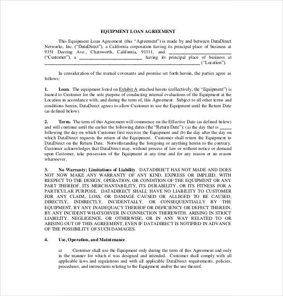 10 Loan Agreement Templates Free Sample Example Format – Free Loan Agreement Template Word