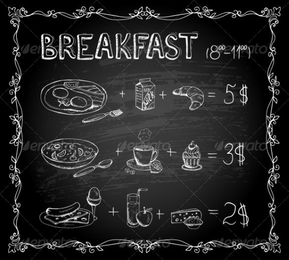 breakfast chalkboard menu template download