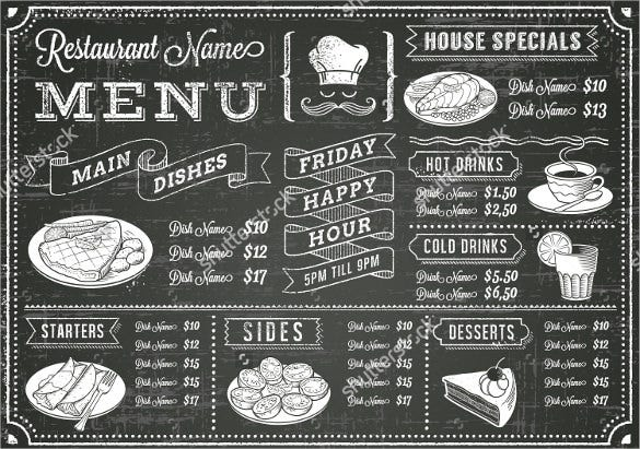 vector chalkboard menu for restaurant template download