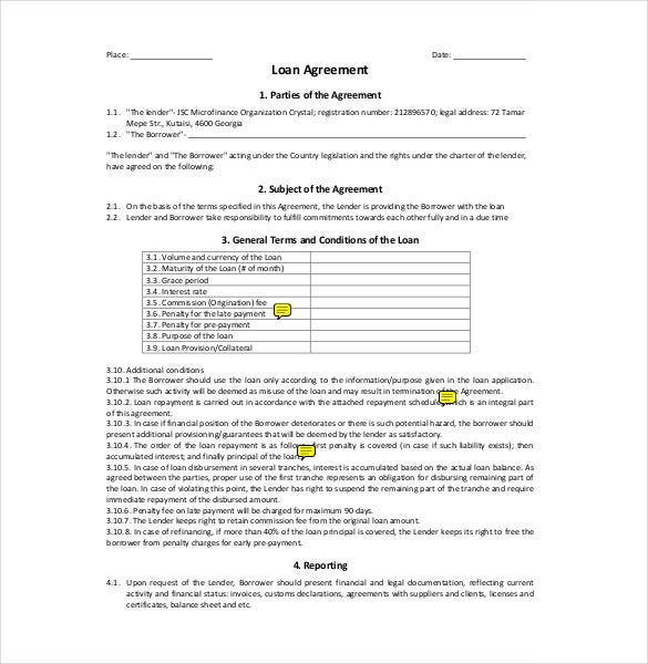 10 Loan Agreement Templates Free Sample Example Format – Financial Loan Agreement Template
