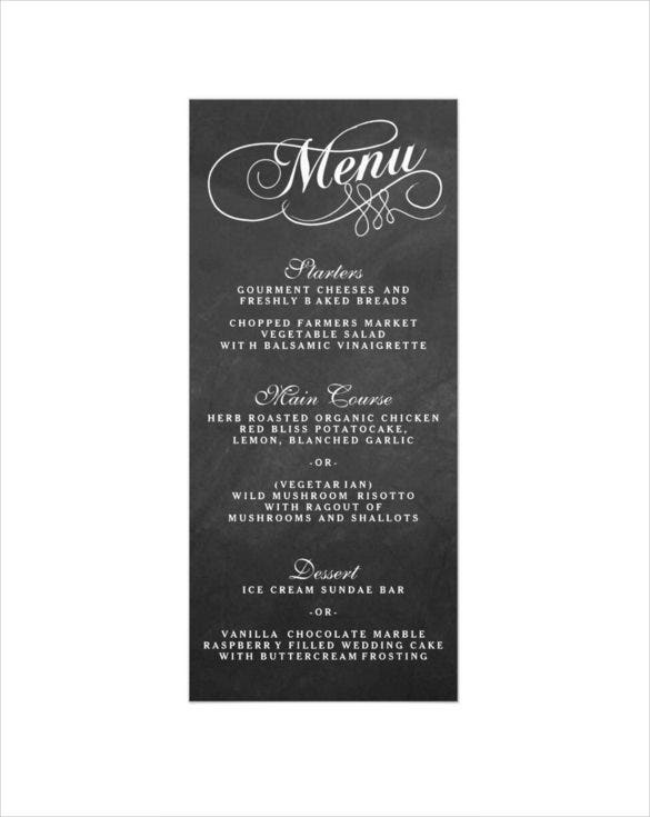 elegant chalkboard wedding menu templates custom rack cards templatedownload