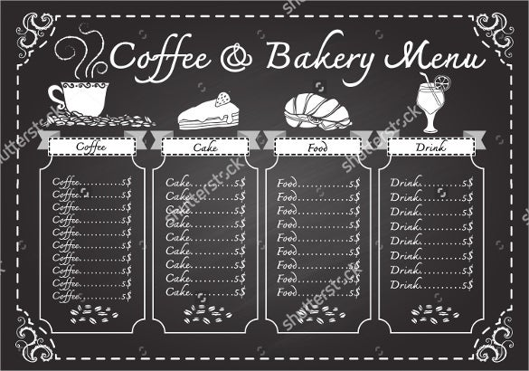 coffee and bakery menu on chalkboard design template download