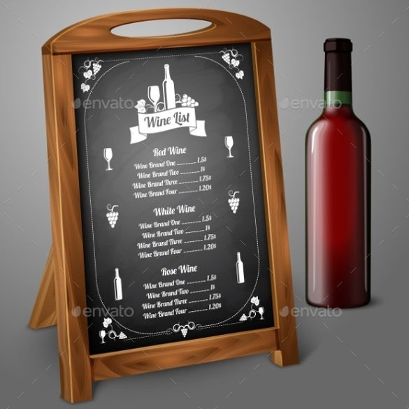 menu template on chalkboard for alcohol template download1
