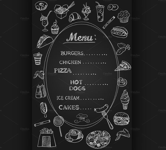 food menu on chalkboard template download