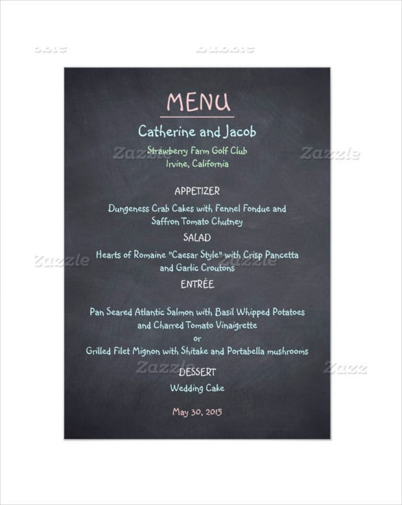 chalkboard look wedding menu card template